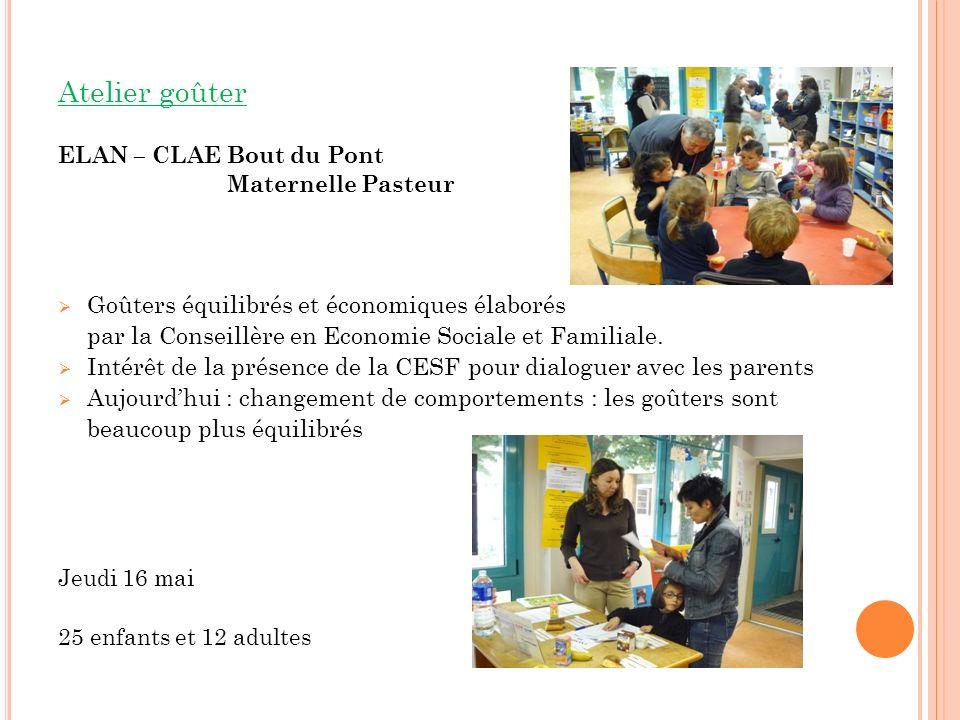 Atelier goûter ELAN – CLAE Bout du Pont Maternelle Pasteur Goûters équilibrés et économiques élaborés par la Conseillère en Economie Sociale et Familiale.