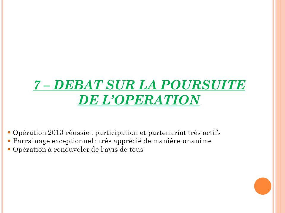 7 – DEBAT SUR LA POURSUITE DE LOPERATION Opération 2013 réussie : participation et partenariat très actifs Parrainage exceptionnel : très apprécié de