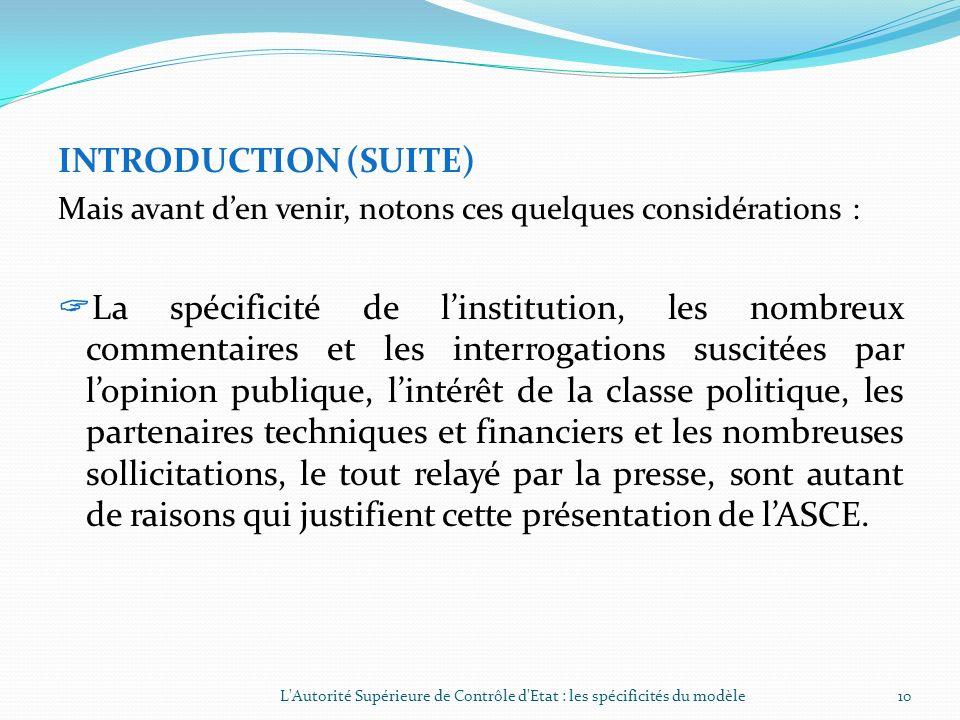 INTRODUCTION (SUITE) La présente communication sur les missions et lorganisation de lASCE va sarticuler autour des points suivants : Introduction la s