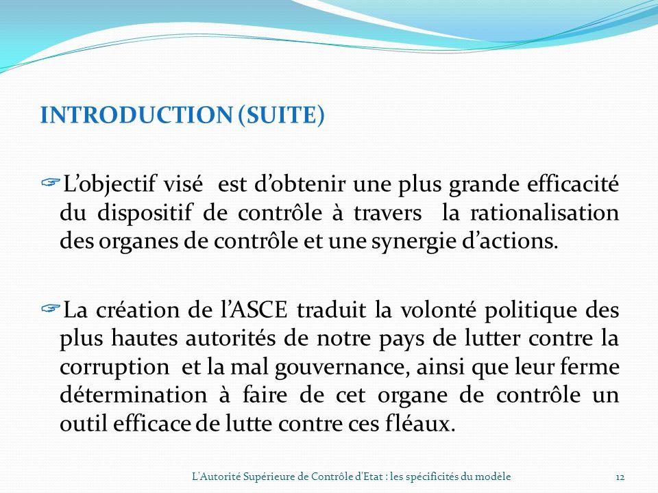INTRODUCTION (SUITE) Considérations LAutorité Supérieure de Contrôle dEtat (ASCE) a été créée par la loi n°032-2007/AN du 29 novembre 2007. Elle a hér