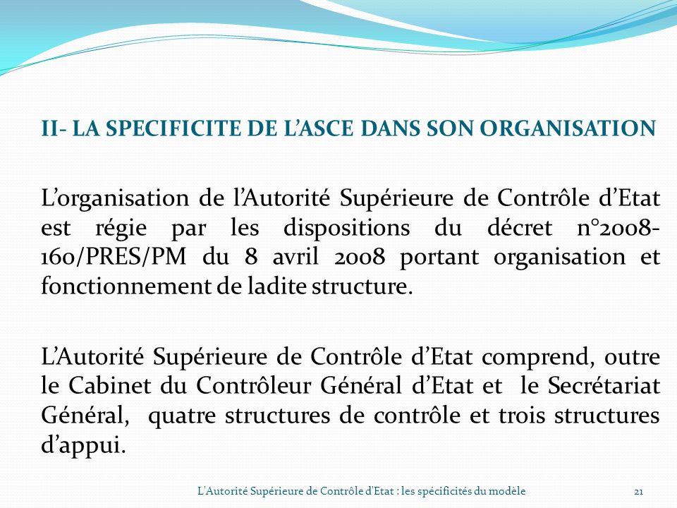 I- LA SPECIFICITE DE LASCE DANS SES ATTRIBUTIONS (SUITE) 1.4- La coordination technique des corps de contrôle de lordre administratif (suite) Observat