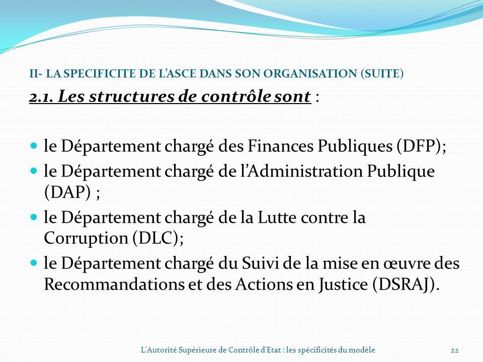 II- LA SPECIFICITE DE LASCE DANS SON ORGANISATION Lorganisation de lAutorité Supérieure de Contrôle dEtat est régie par les dispositions du décret n°2