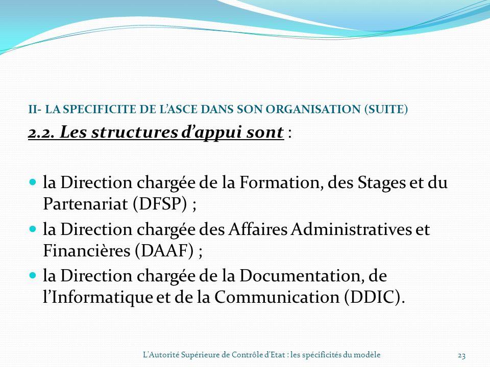 II- LA SPECIFICITE DE LASCE DANS SON ORGANISATION (SUITE) 2.1. Les structures de contrôle sont : le Département chargé des Finances Publiques (DFP); l