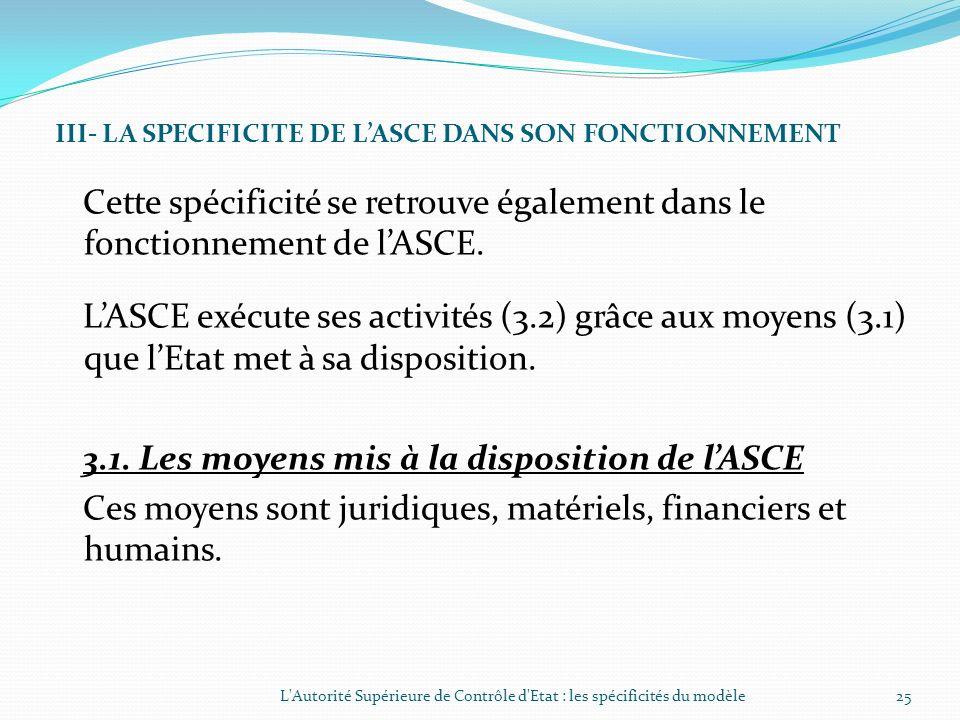 II- LA SPECIFICITE DE LASCE DANS SON ORGANISATION (SUITE) 2.2. Les structures dappui (suite) Observations De fait lASCE est organisée comme un ministè