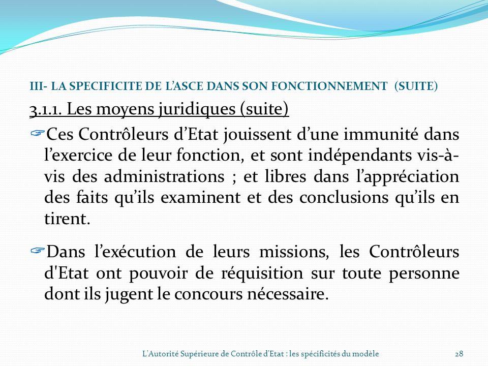 III- LA SPECIFICITE DE LASCE DANS SON FONCTIONNEMENT (SUITE) 3.1.1. Les moyens juridiques (suite) Dans le cadre de leurs missions, les Contrôleurs dEt