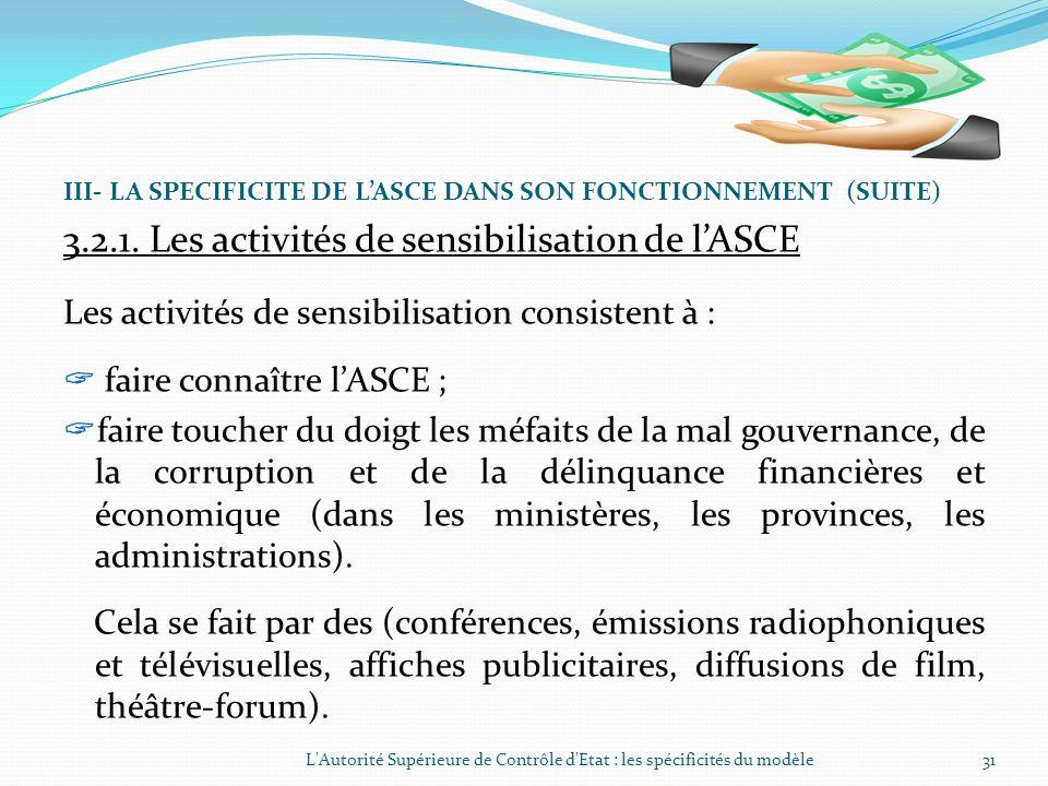 III- LA SPECIFICITE DE LASCE DANS SON FONCTIONNEMENT (SUITE) 3.2. Les activités de lASCE Les activités de lAutorité Supérieure de Contrôle dEtat (ASCE