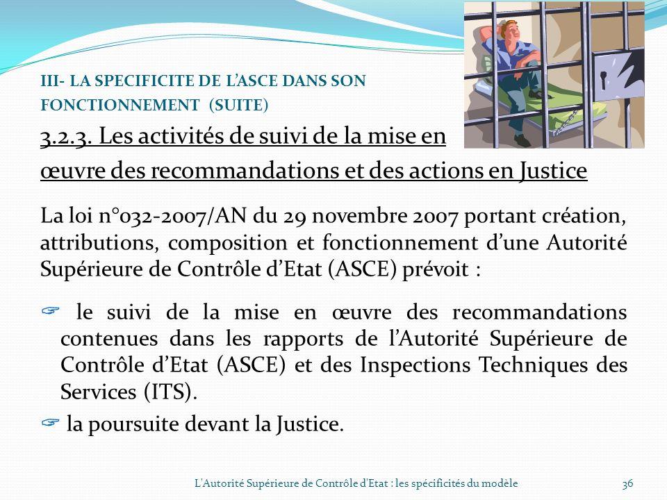 III- LA SPECIFICITE DE LASCE DANS SON FONCTIONNEMENT (SUITE) 3.2.2. Les activités de contrôle de lASCE (suite) Les contrôles sont faits dans le respec