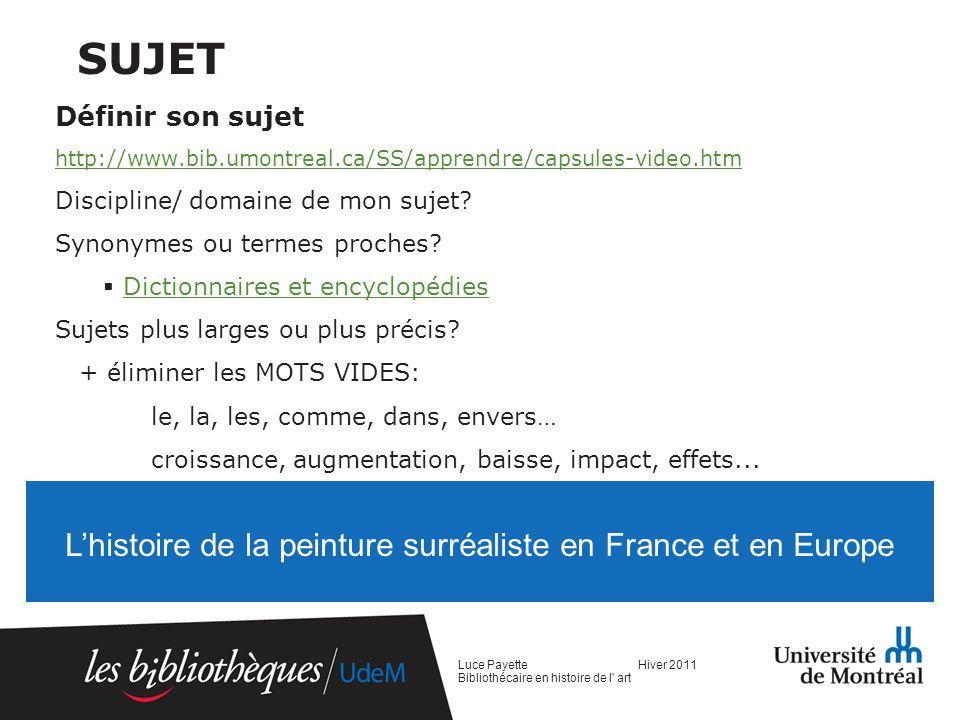 Mots-clés sélectionnés Luce Payette Hiver 2011 Bibliothécaire en histoire de l art Liste de mots-clés Peinture Surréalisme France Europe Histoire