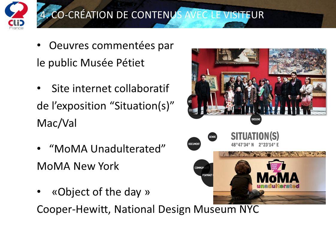 4. CO-CRÉATION DE CONTENUS AVEC LE VISITEUR Oeuvres commentées par le public Musée Pétiet Site internet collaboratif de lexposition Situation(s) Mac/V