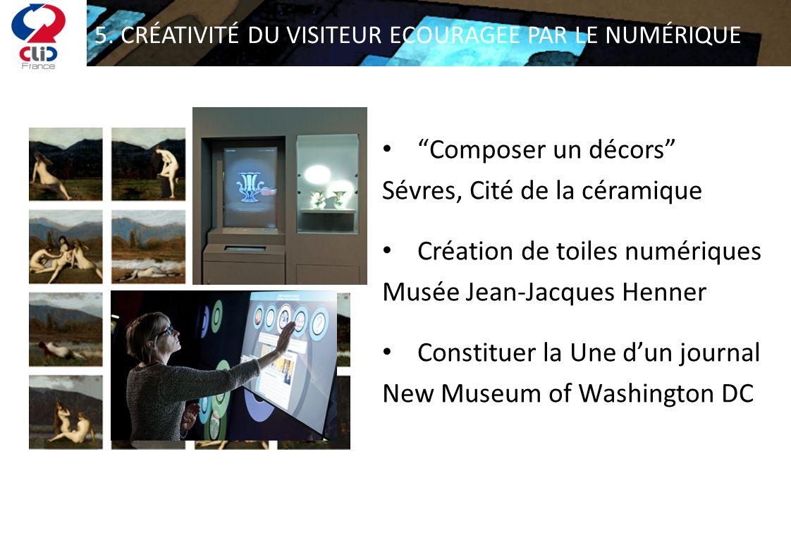 5. CRÉATIVITÉ DU VISITEUR ECOURAGEE PAR LE NUMÉRIQUE Composer un décors Sévres, Cité de la céramique Création de toiles numériques Musée Jean-Jacques