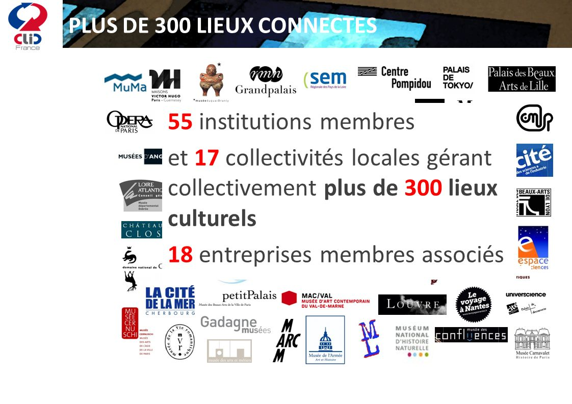 PLUS DE 300 LIEUX CONNECTES 55 institutions membres et 17 collectivités locales gérant collectivement plus de 300 lieux culturels 18 entreprises membr