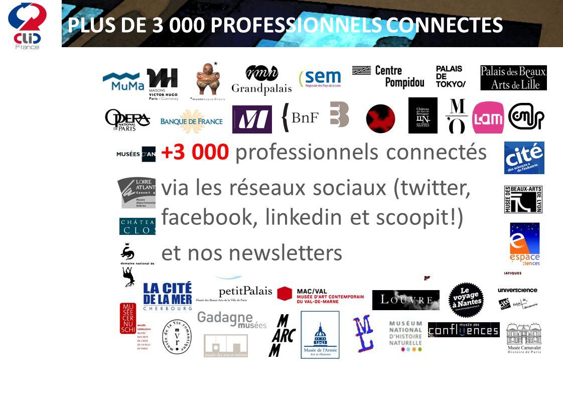 PLUS DE 3 000 PROFESSIONNELS CONNECTES +3 000 professionnels connectés via les réseaux sociaux (twitter, facebook, linkedin et scoopit!) et nos newsle