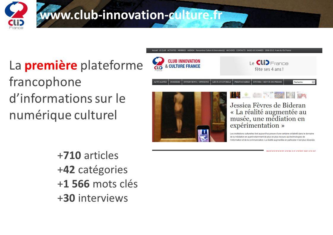 www.club-innovation-culture.fr La première plateforme francophone dinformations sur le numérique culturel +710 articles +42 catégories +1 566 mots clé