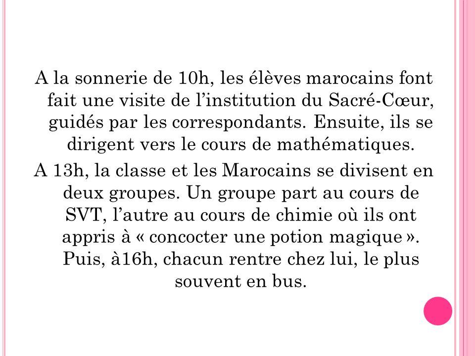 A la sonnerie de 10h, les élèves marocains font fait une visite de linstitution du Sacré-Cœur, guidés par les correspondants. Ensuite, ils se dirigent