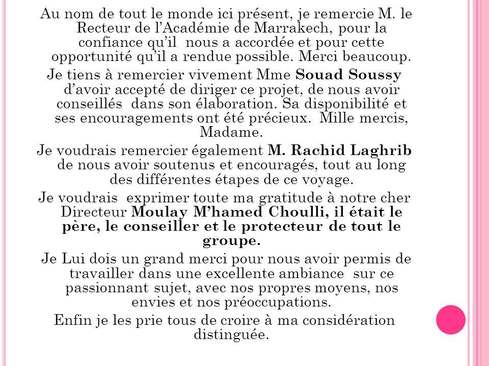 Au nom de tout le monde ici présent, je remercie M. le Recteur de lAcadémie de Marrakech, pour la confiance quil nous a accordée et pour cette opportu