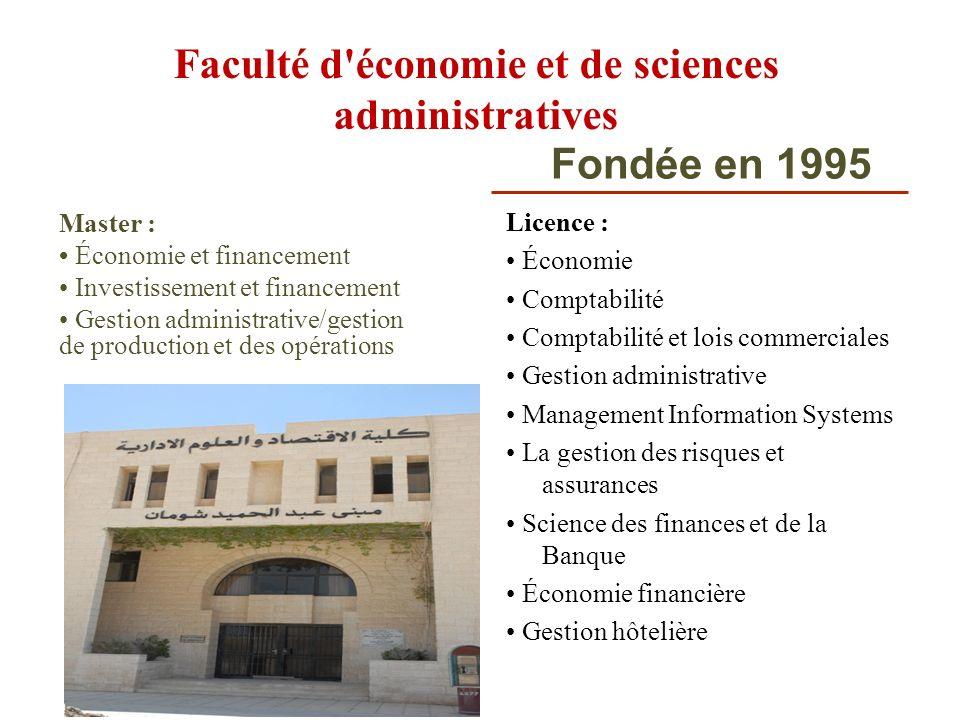 Faculté d'économie et de sciences administratives Licence : Économie Comptabilité Comptabilité et lois commerciales Gestion administrative Management