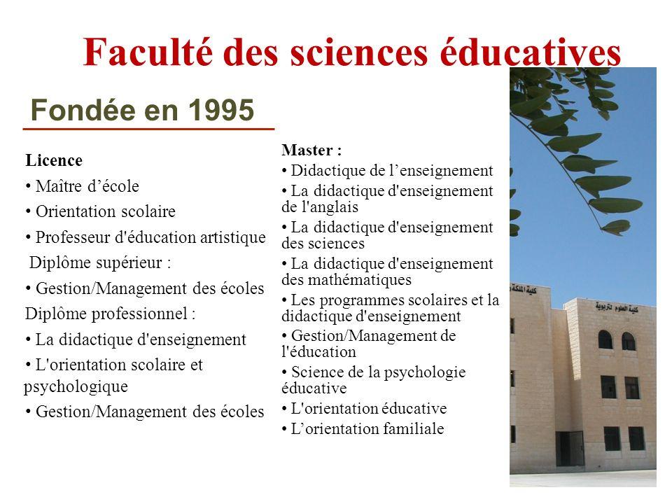 Faculté des sciences éducatives Licence Maître décole Orientation scolaire Professeur d'éducation artistique Diplôme supérieur : Gestion/Management de
