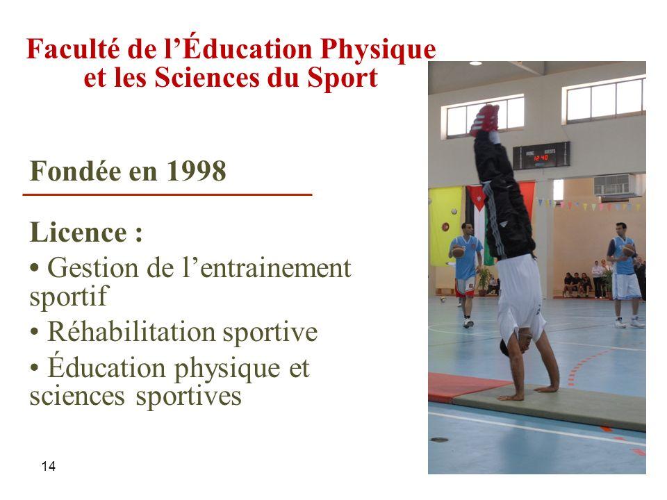 14 Faculté de lÉducation Physique et les Sciences du Sport Licence : Gestion de lentrainement sportif Réhabilitation sportive Éducation physique et sc