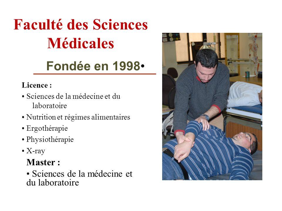 Faculté des Sciences Médicales Licence : Sciences de la médecine et du laboratoire Nutrition et régimes alimentaires Ergothérapie Physiothérapie X-ray