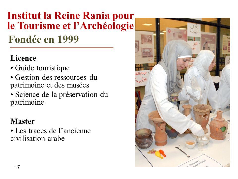 17 Institut la Reine Rania pour le Tourisme et lArchéologie Licence Guide touristique Gestion des ressources du patrimoine et des musées Science de la