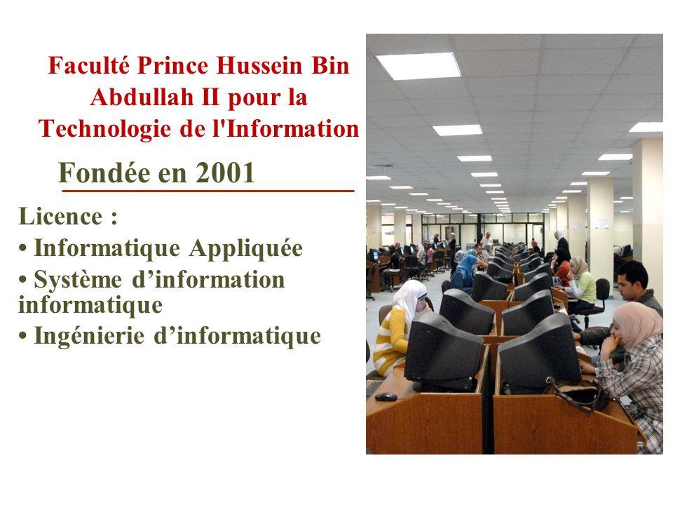 Faculté Prince Hussein Bin Abdullah II pour la Technologie de l'Information Licence : Informatique Appliquée Système dinformation informatique Ingénie