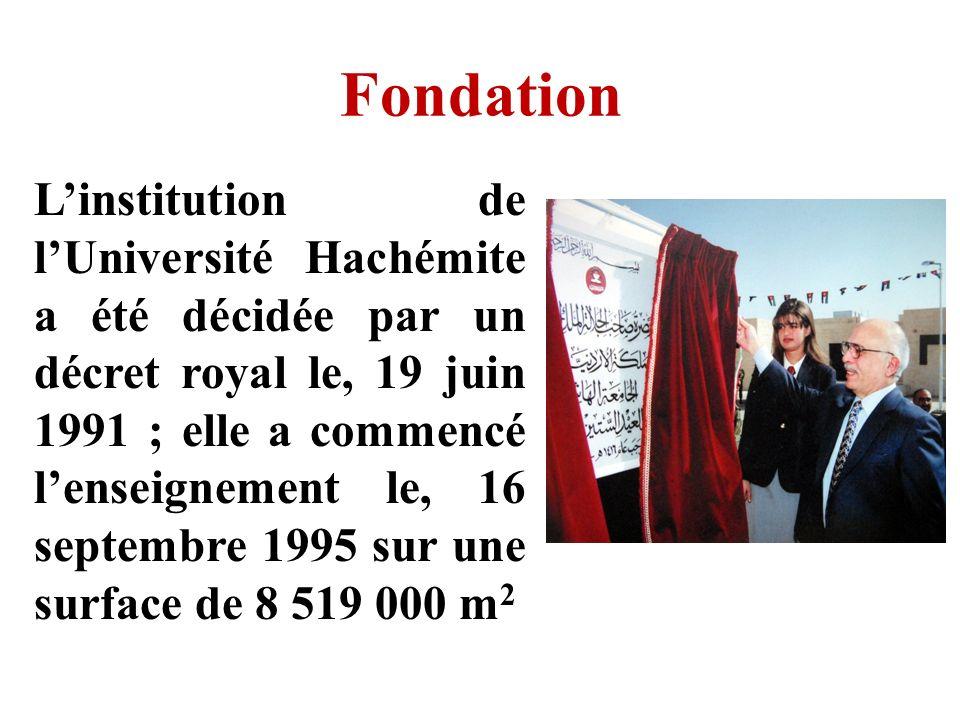 Fondation Linstitution de lUniversité Hachémite a été décidée par un décret royal le, 19 juin 1991 ; elle a commencé lenseignement le, 16 septembre 19