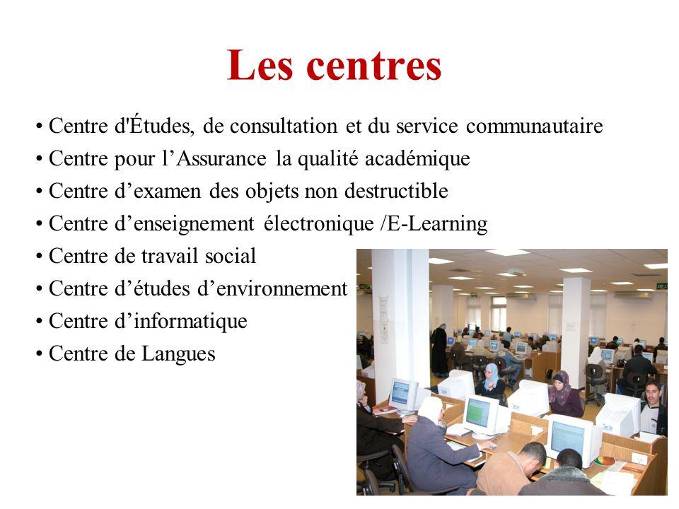 Les centres Centre d'Études, de consultation et du service communautaire Centre pour lAssurance la qualité académique Centre dexamen des objets non de
