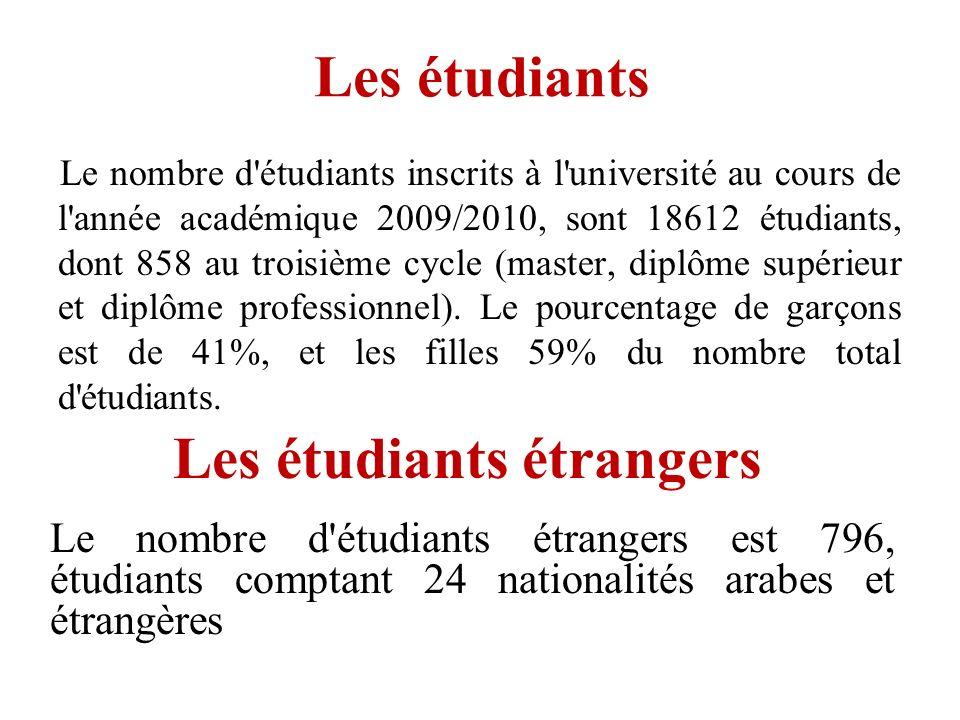 Les étudiants Le nombre d'étudiants inscrits à l'université au cours de l'année académique 2009/2010, sont 18612 étudiants, dont 858 au troisième cycl