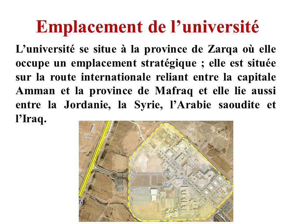 Emplacement de luniversité Luniversité se situe à la province de Zarqa où elle occupe un emplacement stratégique ; elle est située sur la route intern