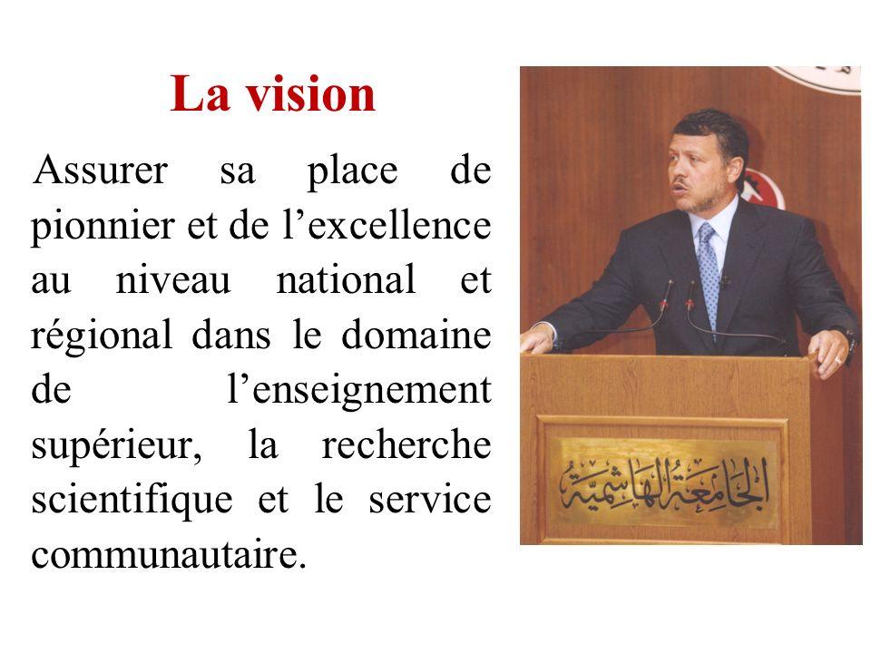 La vision Assurer sa place de pionnier et de lexcellence au niveau national et régional dans le domaine de lenseignement supérieur, la recherche scien