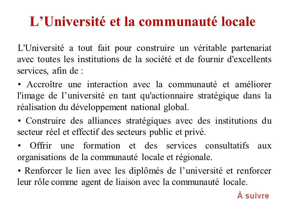 LUniversité et la communauté locale L'Université a tout fait pour construire un véritable partenariat avec toutes les institutions de la société et de