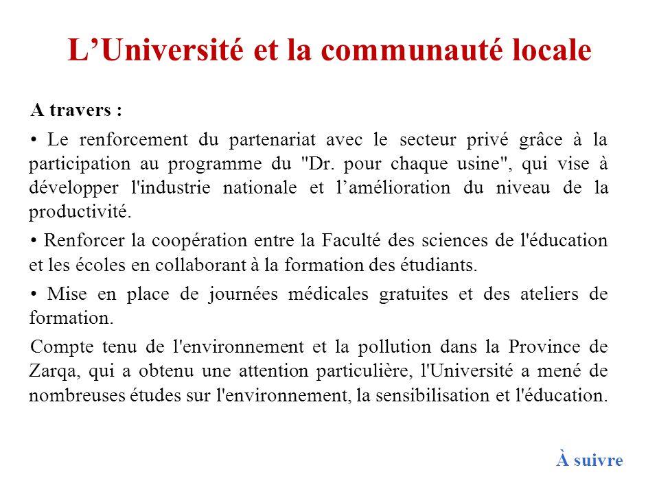 LUniversité et la communauté locale A travers : Le renforcement du partenariat avec le secteur privé grâce à la participation au programme du