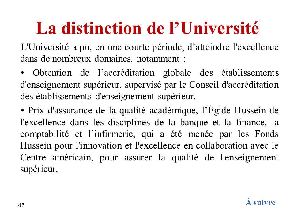 45 La distinction de lUniversité L'Université a pu, en une courte période, datteindre l'excellence dans de nombreux domaines, notamment : Obtention de