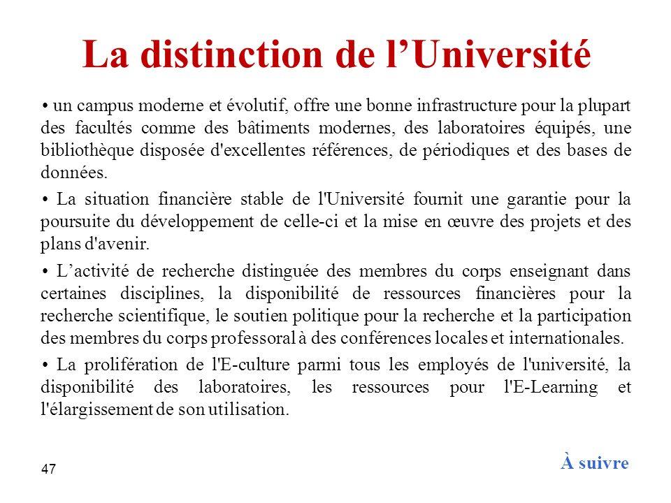 47 La distinction de lUniversité un campus moderne et évolutif, offre une bonne infrastructure pour la plupart des facultés comme des bâtiments modern