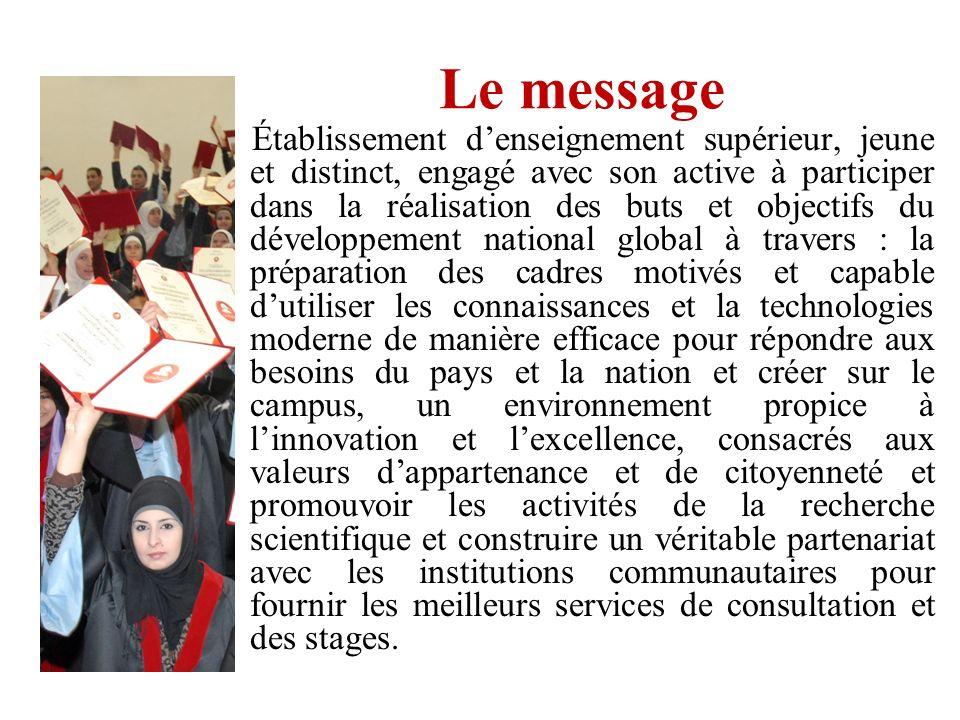 Le message Établissement denseignement supérieur, jeune et distinct, engagé avec son active à participer dans la réalisation des buts et objectifs du