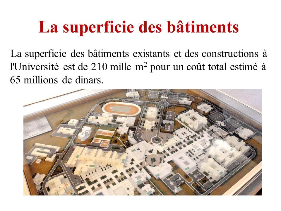 La superficie des bâtiments La superficie des bâtiments existants et des constructions à l'Université est de 210 mille m 2 pour un coût total estimé à