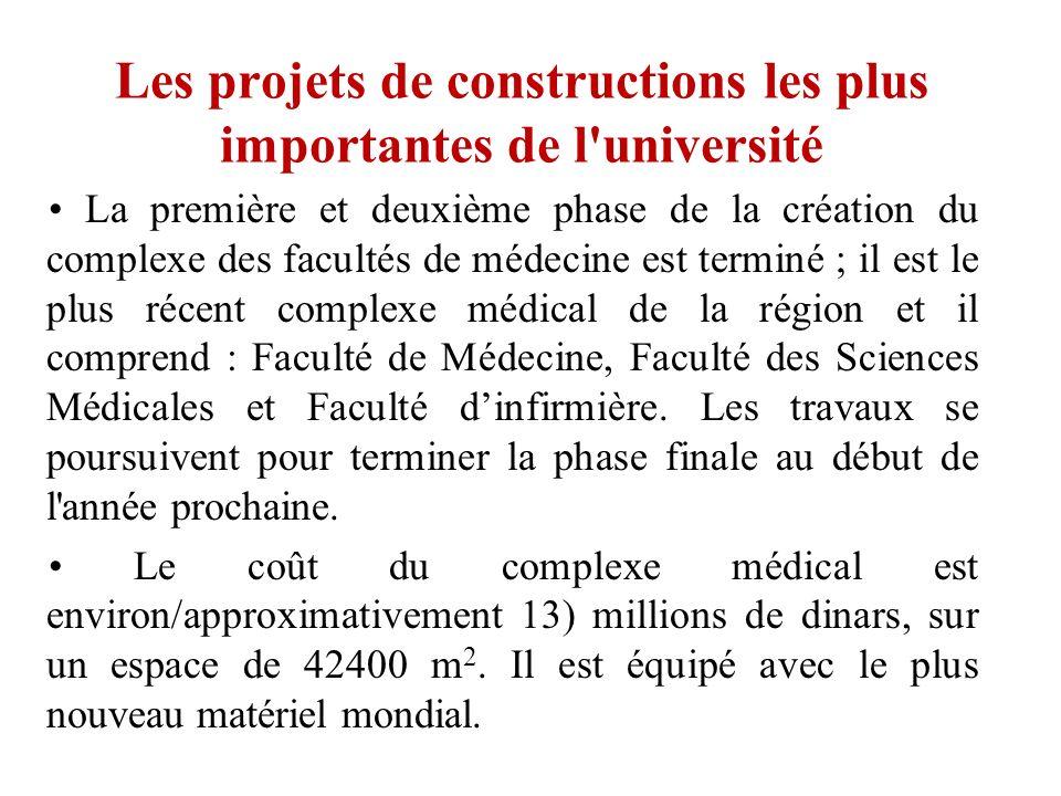 Les projets de constructions les plus importantes de l'université La première et deuxième phase de la création du complexe des facultés de médecine es