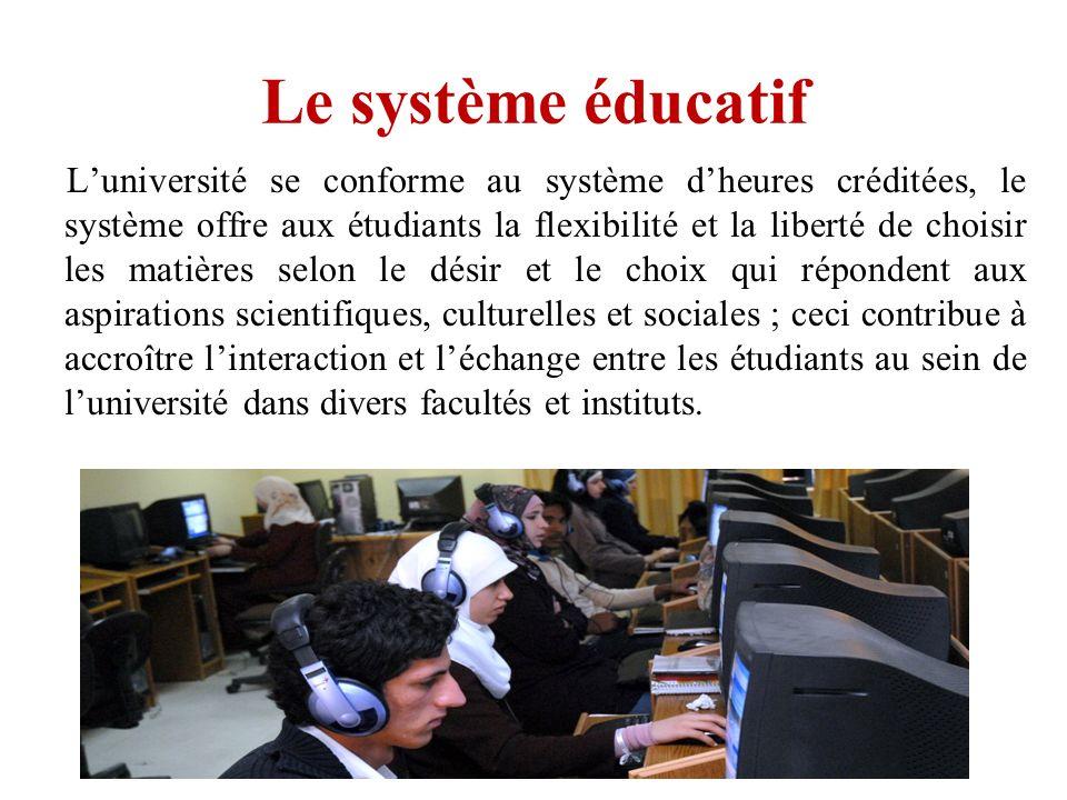 Le système éducatif Luniversité se conforme au système dheures créditées, le système offre aux étudiants la flexibilité et la liberté de choisir les m