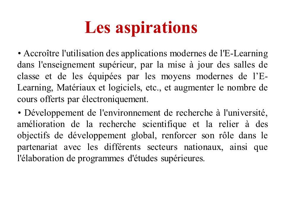 Les aspirations Accroître l'utilisation des applications modernes de l'E-Learning dans l'enseignement supérieur, par la mise à jour des salles de clas