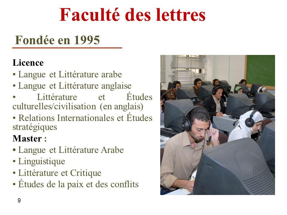 9 Faculté des lettres Licence Langue et Littérature arabe Langue et Littérature anglaise Littérature et Études culturelles/civilisation (en anglais) R