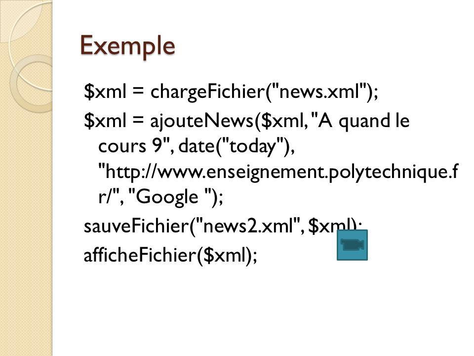 Exemple $xml = chargeFichier( news.xml ); $xml = ajouteNews($xml, A quand le cours 9 , date( today ), http://www.enseignement.polytechnique.f r/ , Google ); sauveFichier( news2.xml , $xml); afficheFichier($xml);