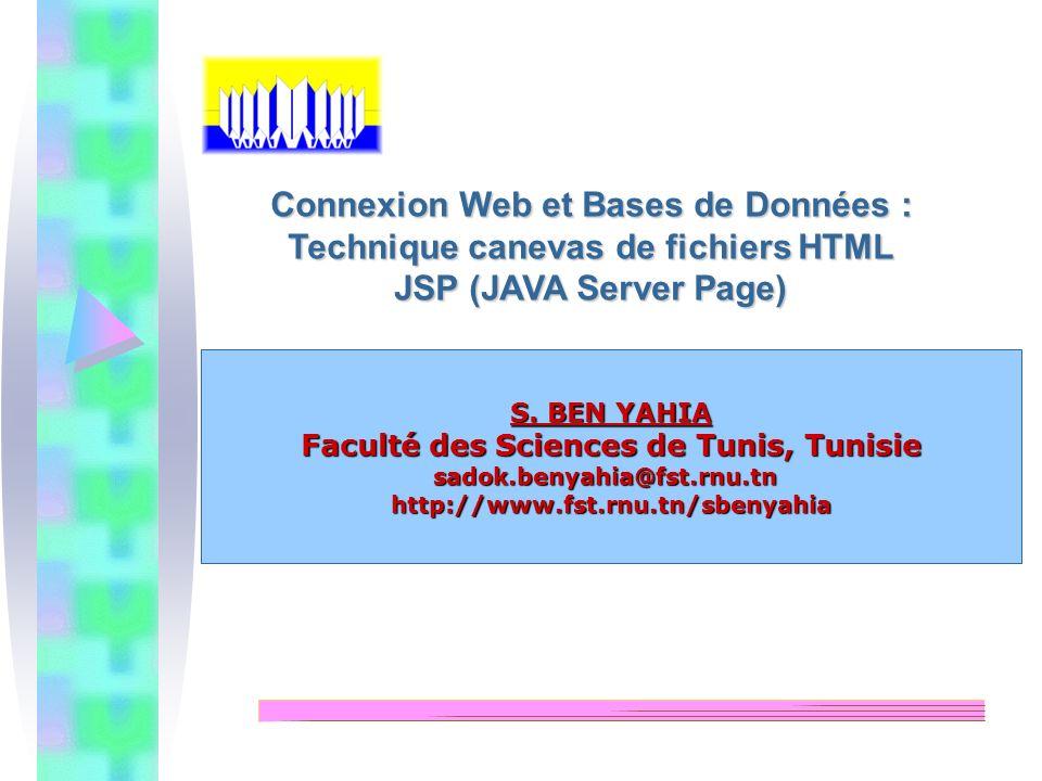 S. BEN YAHIA Faculté des Sciences de Tunis, Tunisie sadok.benyahia@fst.rnu.tnhttp://www.fst.rnu.tn/sbenyahia Connexion Web et Bases de Données : Techn