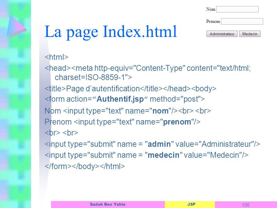 JSP 100 Sadok Ben Yahia La page Index.html Page dautentification Nom Prenom
