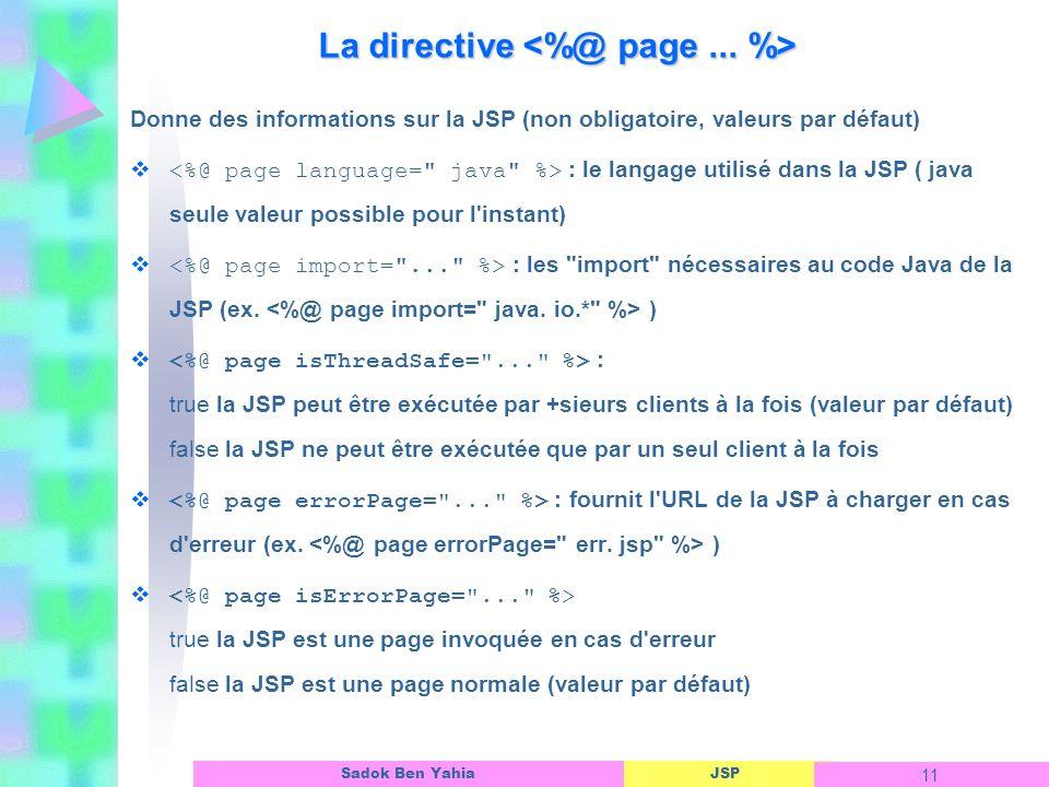 JSP 11 Sadok Ben Yahia La directive La directive Donne des informations sur la JSP (non obligatoire, valeurs par défaut) : le langage utilisé dans la JSP ( java seule valeur possible pour l instant) : les import nécessaires au code Java de la JSP (ex.