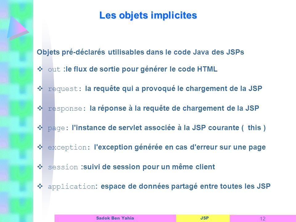 JSP 12 Sadok Ben Yahia Les objets implicites Objets pré-déclarés utilisables dans le code Java des JSPs out :le flux de sortie pour générer le code HTML request: la requête qui a provoqué le chargement de la JSP response: la réponse à la requête de chargement de la JSP page: l instance de servlet associée à la JSP courante ( this ) exception: l exception générée en cas d erreur sur une page session :suivi de session pour un même client application : espace de données partagé entre toutes les JSP
