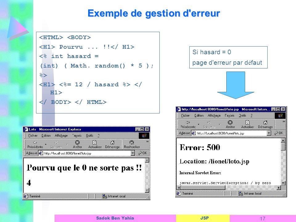 JSP 17 Sadok Ben Yahia Exemple de gestion d erreur Pourvu...