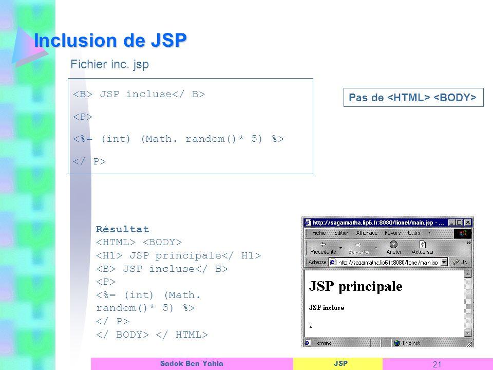 JSP 21 Sadok Ben Yahia Inclusion de JSP Résultat JSP principale JSP incluse JSP incluse Pas de Fichier inc.