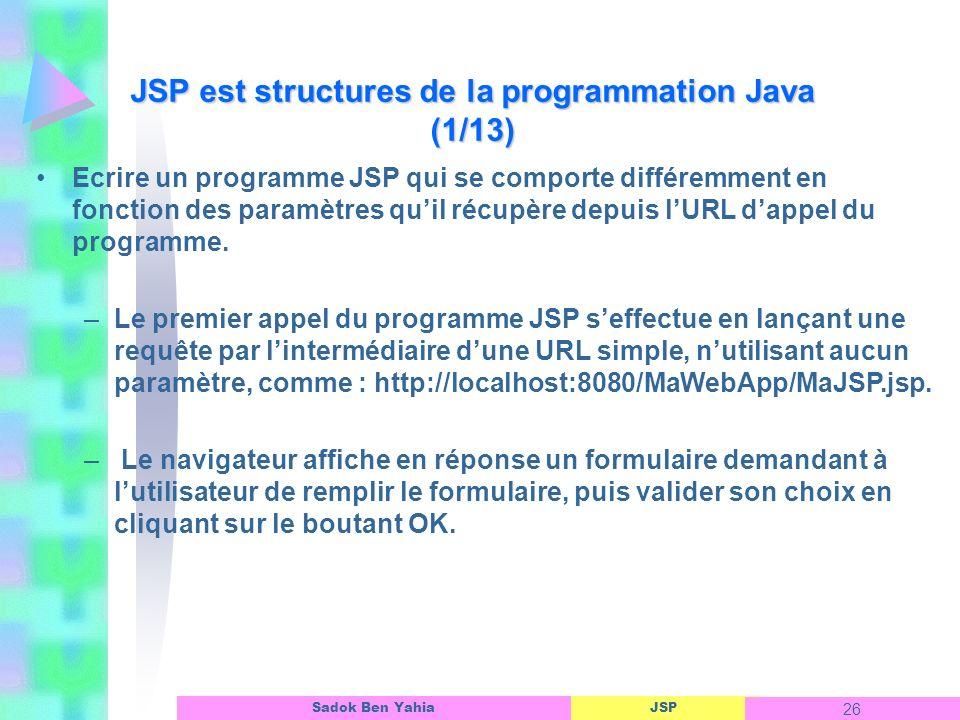 JSP 26 Sadok Ben Yahia Ecrire un programme JSP qui se comporte différemment en fonction des paramètres quil récupère depuis lURL dappel du programme.