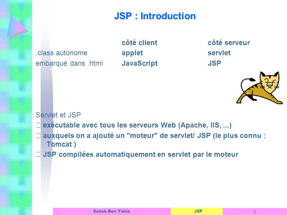 JSP 84 Sadok Ben Yahia Exemple de classe génériques : ConnectionBean Linterface dun objet ASP public boolean closeConnection() { try{ con.close(); return true ; } catch (Exception e){ System.out.println( Echec de la fermeture de la connexion : + e.getMessage()); return false ; } } //------------------------------------------------- public ResultSet selectExec(String sql){ try{ stmt = con.createStatement(); rs = stmt.executeQuery(sql); } catch(Exception e){ System.out.println( Echec de l exécution de la requête sql : +e.getMessage()); } return rs ; } 3/5