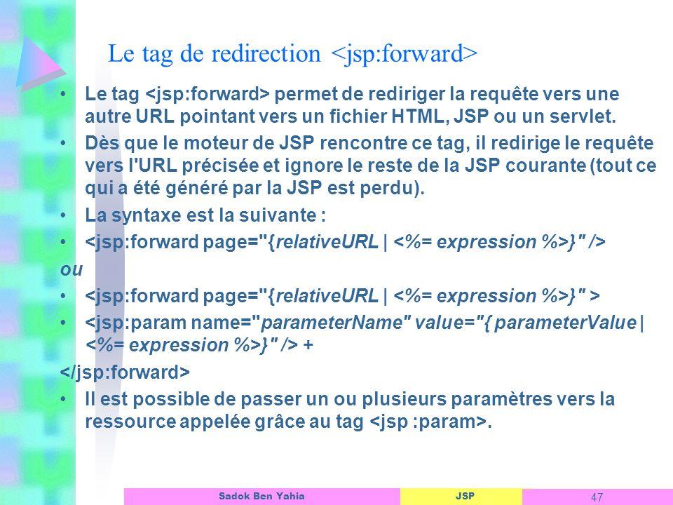 JSP 47 Sadok Ben Yahia Le tag de redirection Le tag permet de rediriger la requête vers une autre URL pointant vers un fichier HTML, JSP ou un servlet.